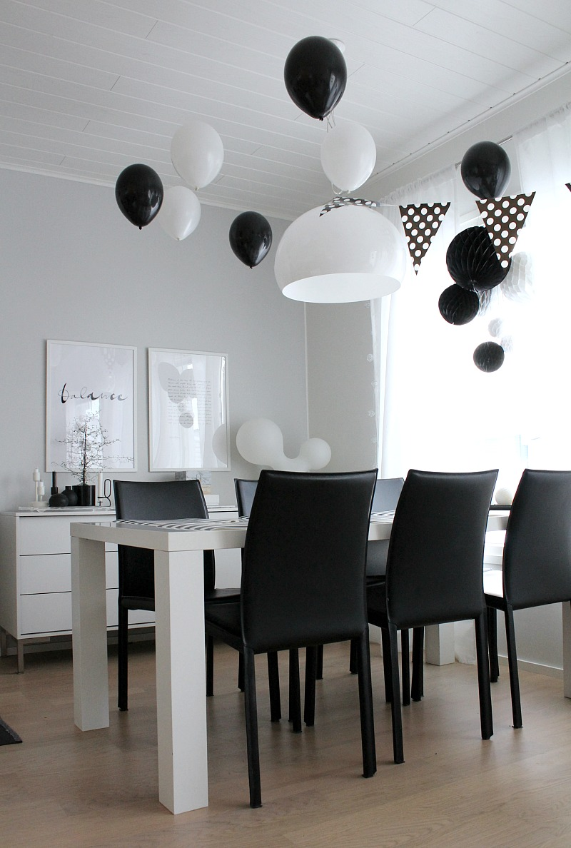 monochrome party decorations