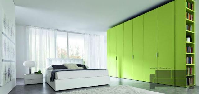 الوان غرف نوم كاملة، صور احدث غرف نوم، غرفة نوم ابيض وأخضر لموني, اجمل الوان اوض النوم, الوان غرف نوم, ديكورات غرف نوم