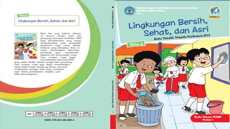Buku Siswa Kelas 1 Tema 6 Lingkungan Bersih Sehat Dan Asri Semester 2 K13 Revisi 2017 Gurusd Id