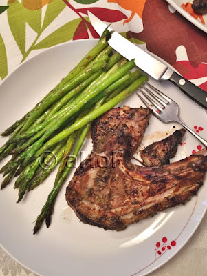 Jerk Lamb Chops with Grilled Asparagus