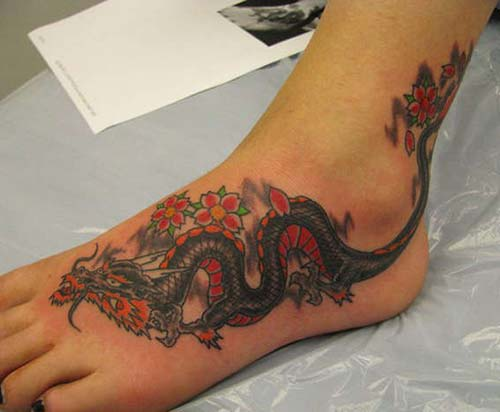 foot dragon tattoo ayak ejderha dövmesi