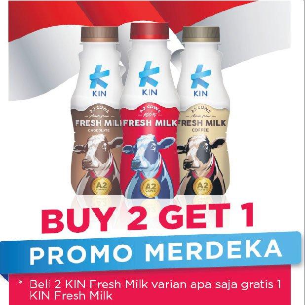 Alfamidi - Promo Buy 2 Get 1 Free KIN Fresh Milk All Variant (s.d 31 Agustus 2018)