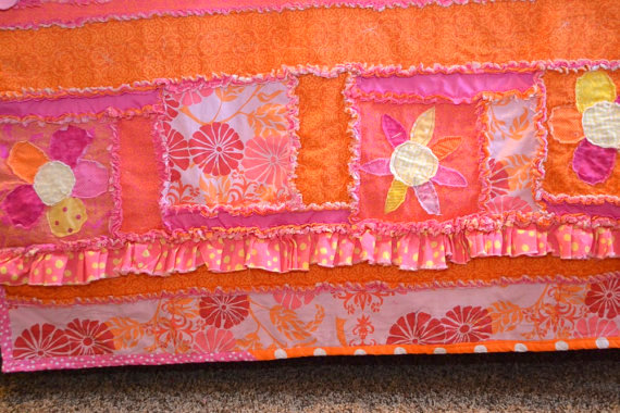 Ruffle and Applique Flowers for Sew Girly Rag Quilt Pattern by A Vision to Remember