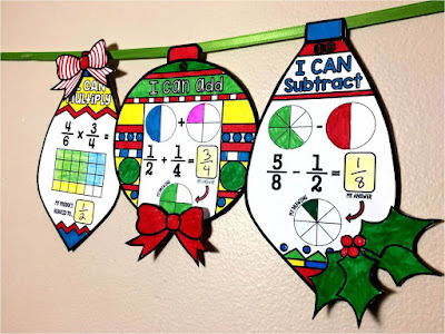 fraction math ornaments for Christmas