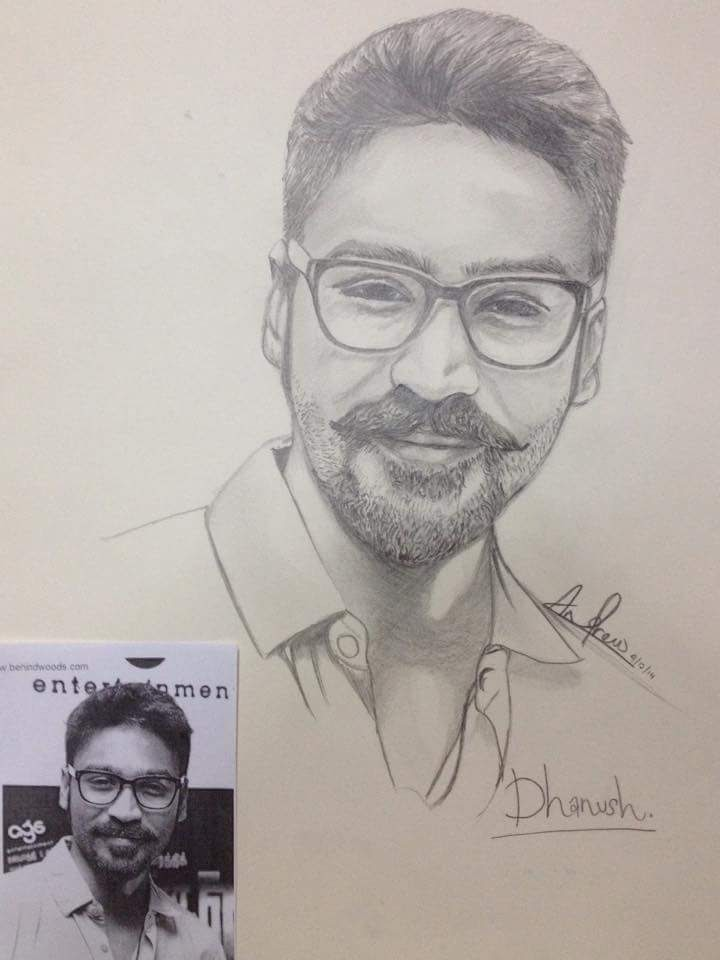 Pencil sketch actor dhanush