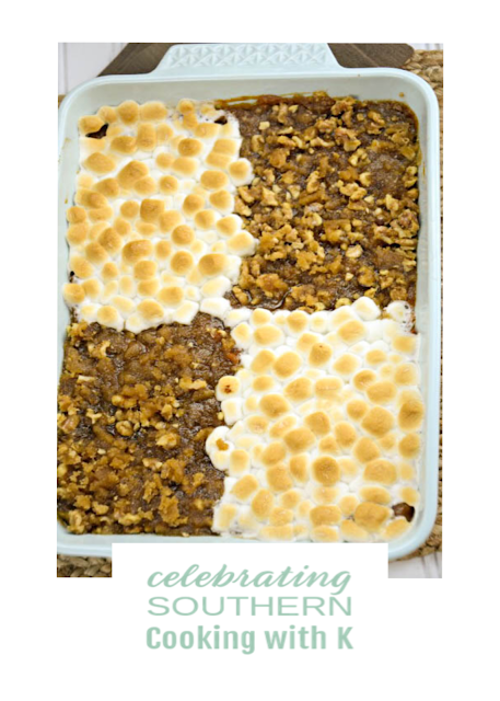His and Her Sweet Potato Casserole, two Thanksgiving traditions come together, toasted marshmallows and pecan crumble toppings blanket creamy smooth sweet potatoes.  Scrumptious!!