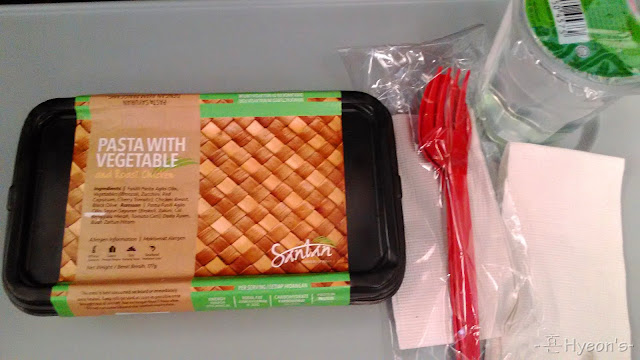 airasia flight meal pasta with vegetable