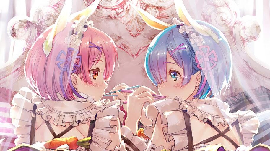 Ram, Rem, Re:Zero, Anime, Girls, 4K, #4.2774