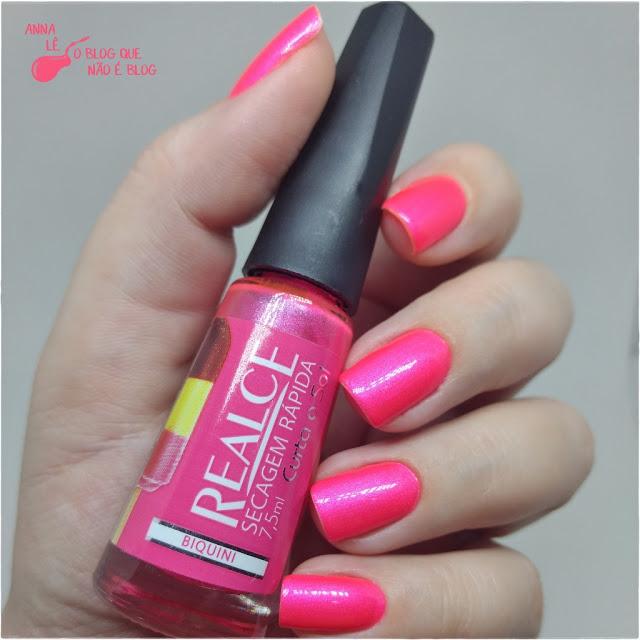 Biquini Realce Esmalte Neon Rosa Outubro