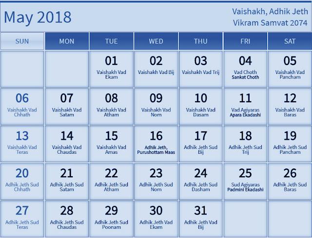 May 2018 Hindu Calendar with Tithi