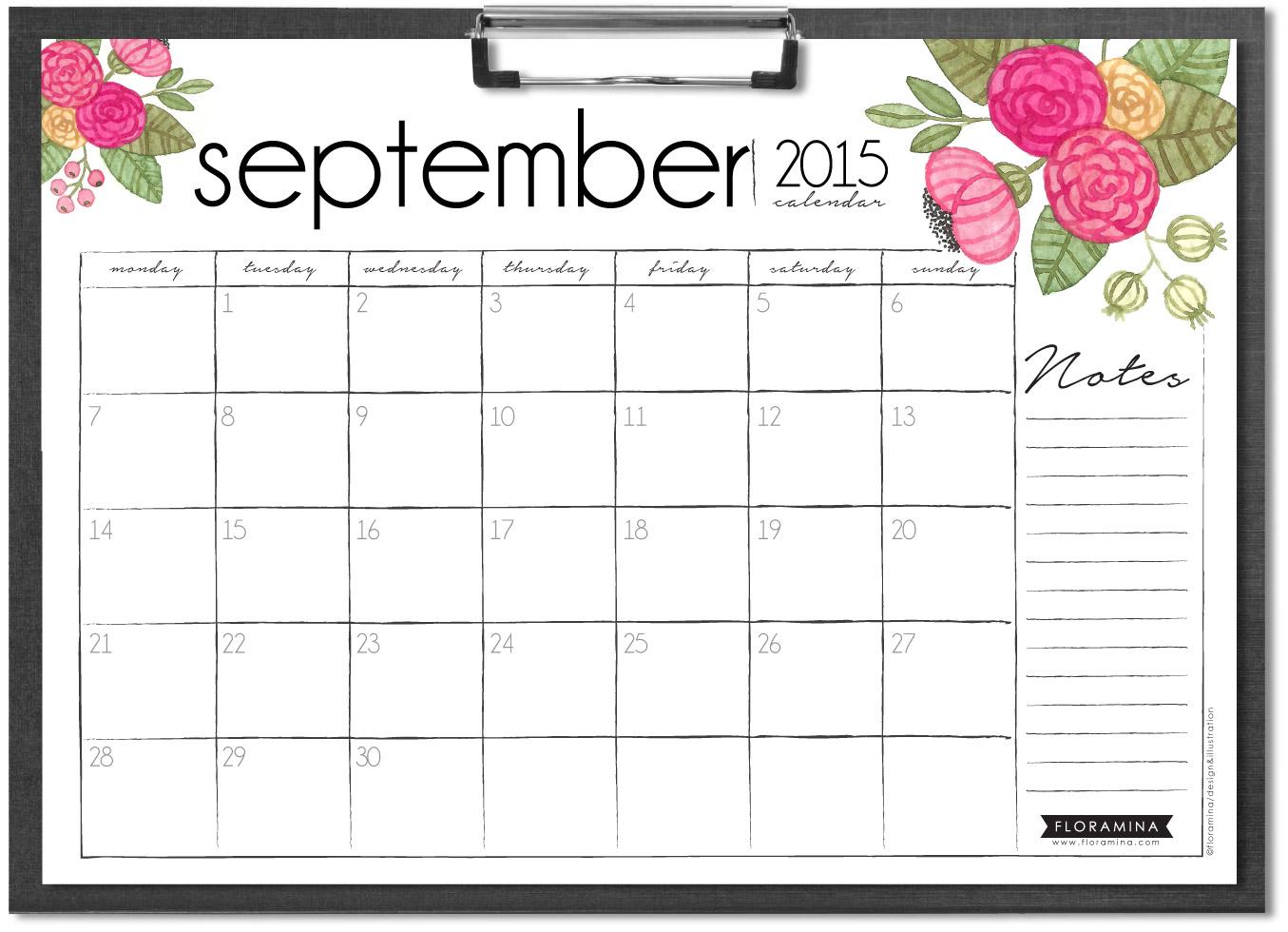 floramina september watercolor free month calendar
