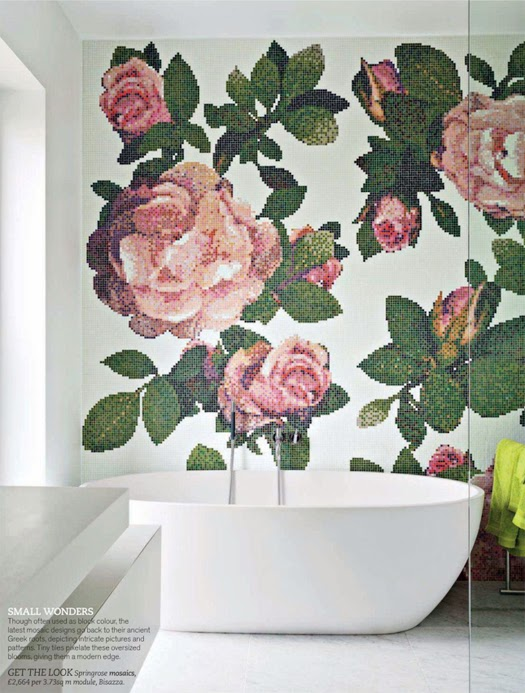 mosaic rose bathroom accent wall