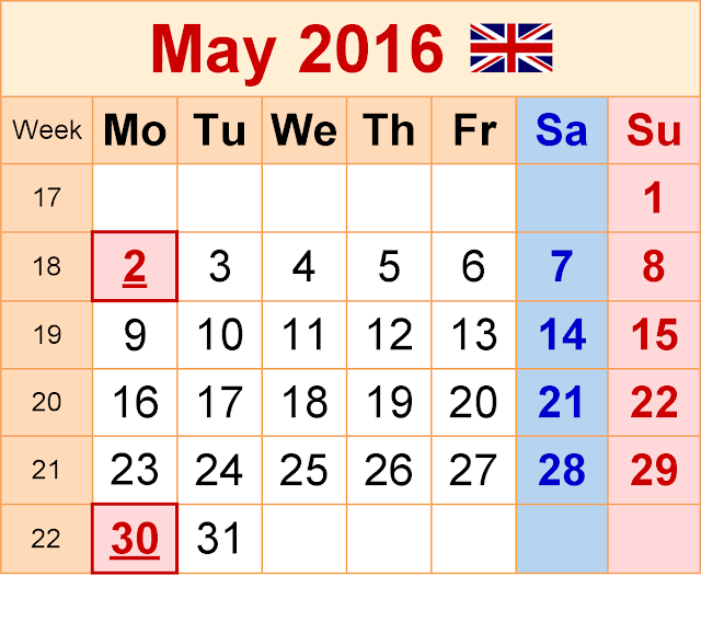 May 2016 Blank Printable Calendar Cute download free, May 2016 Calendar with Holidays, May 2016 Calendar Word Excel PDF Template, May 2016 Calendar Weekly