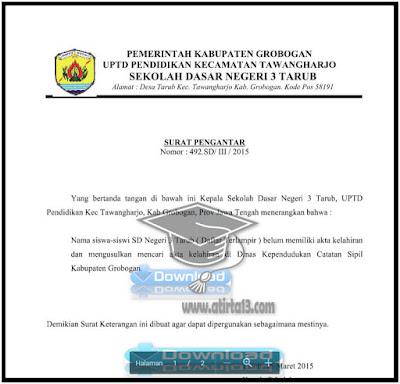 Contoh Format Surat Permohonan Akta Kelahiran Siswa Dari Sekolah