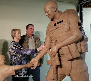 Heroic size portrait statue of Sgt.Dan Brown at Young Fine Art Studio