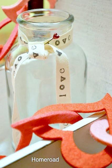 printed valentine on cotton ribbon