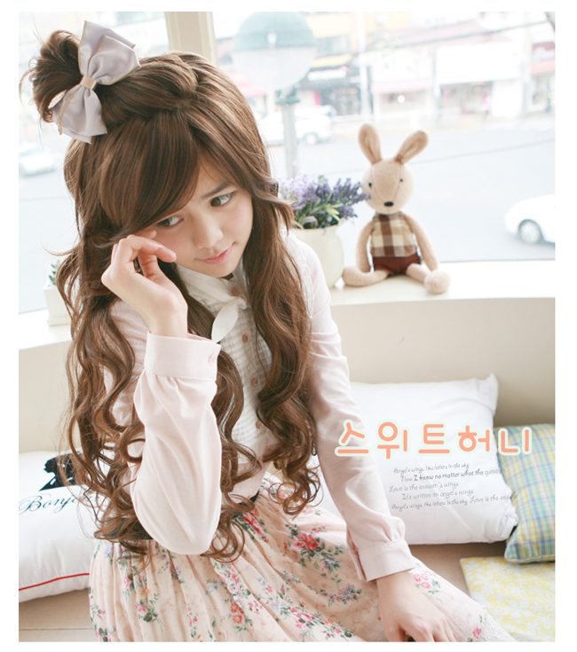 Korean Fashion Beauty Wig - Sweet Honey Color Honey Brown Model 3