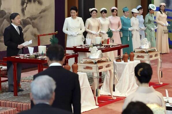 Emperor Naruhito, Empress MasakoCrown Princess Kiko, Princess Mako and Princess Kako at thanksgiving ceremony at the Imperial Palace
