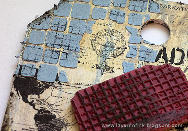 Layers of ink - Sea Journey Etcetera Tag Tutorial by Anna-Karin Evaldsson with Tim HOltz stencils