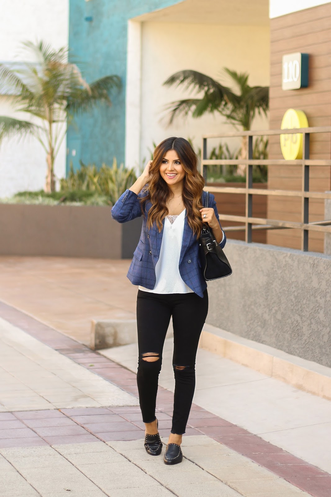 Blue Banana Republic Blazer and White lace Cami Casual Outfit