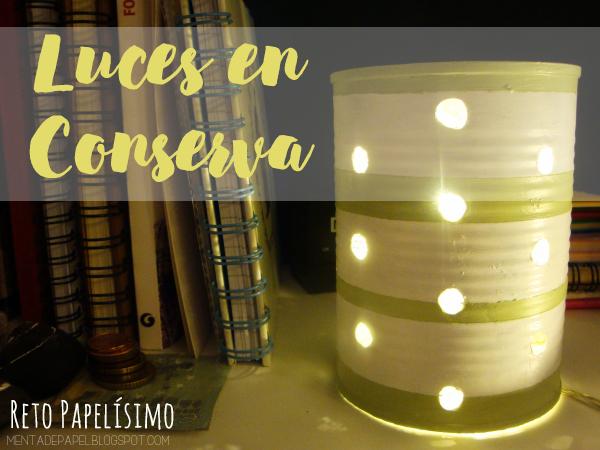 Lámpara de lata de conservas color menta y blanco