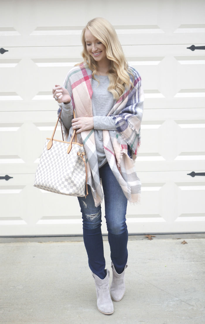 pink and gray blanket scarf, blanket scarf, styling a blanket scarf