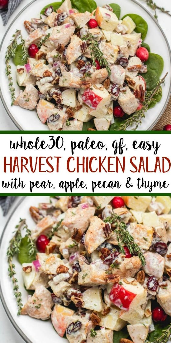 Whole30 Harvest Chicken Salad With Apple, Pear, Cranberry & Pecans