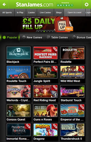 Stan James Casino Games Screen