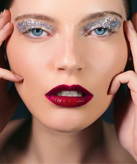 Maquiagem Carnaval com glitter