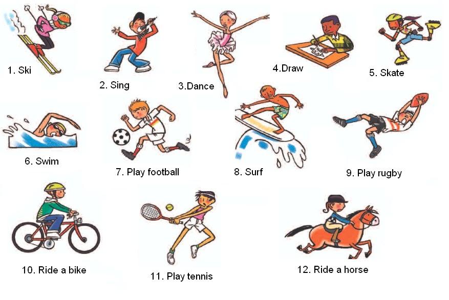 Виды спорта на английском для детей с картинками