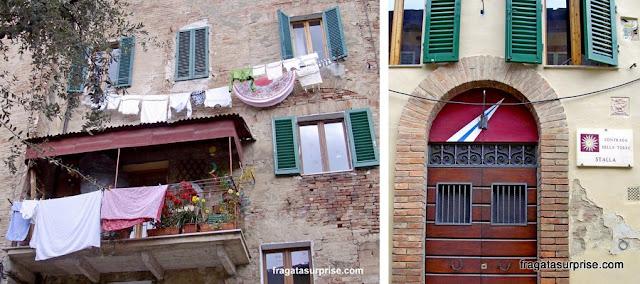 Sede da Contrada della Torre e detalhes de uma fachada no Ghetto de Siena, Itália