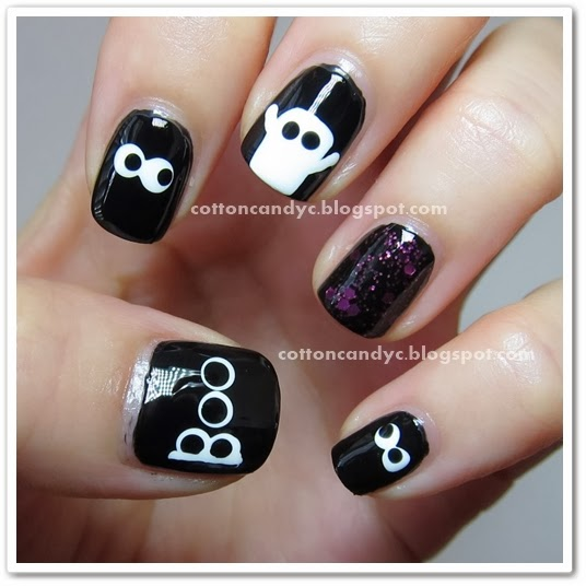 Halloween Nail Art: Cotton Candy Blog: Tutorial: Halloween Ghost Nail Art