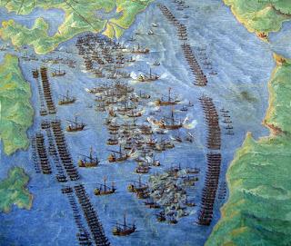 Disposición de las armadas en la mal llamada batalla de Lepanto.