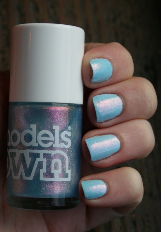 Models Own Indian Ocean over Color Club Take Me To Your Chateau swatch