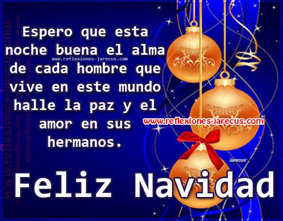 Espero que esta noche buena el alma de cada hombre que vive en este mundo halle la paz y el amor en sus hermanos. Feliz Navidad