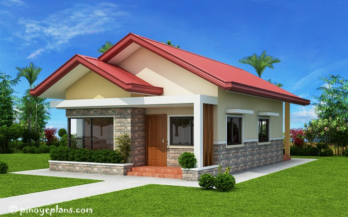 Small bungalow home blueprints and floor plans with 3 bedrooms for 3 bedroom bungalow house designs