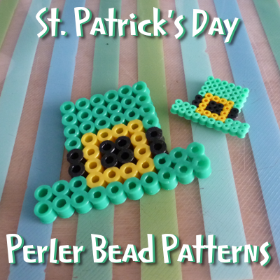 Perler bead patterns with Irish and St Patricks Day theme like leprechaun hat