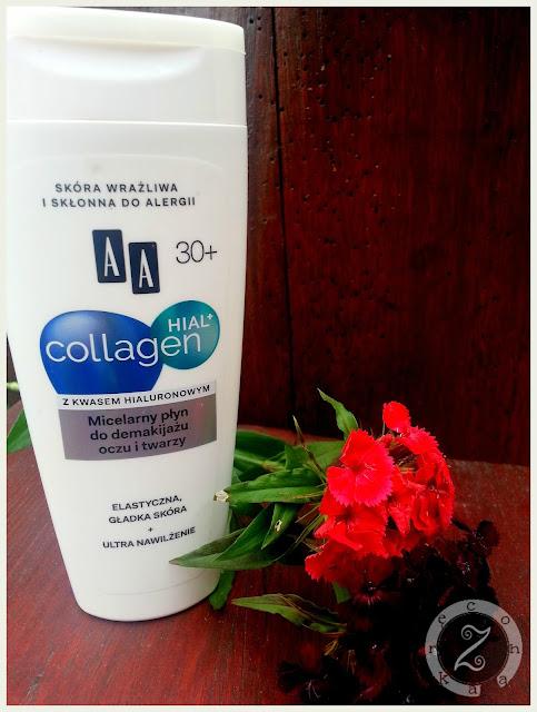 AA, Micelarny płyn do demakijażu oczu i twarzy 30+, Hial+ Collagen