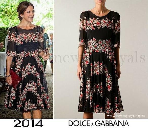 Crown Princess Mary wore Dolce & Gabbana Floral Panel Dress