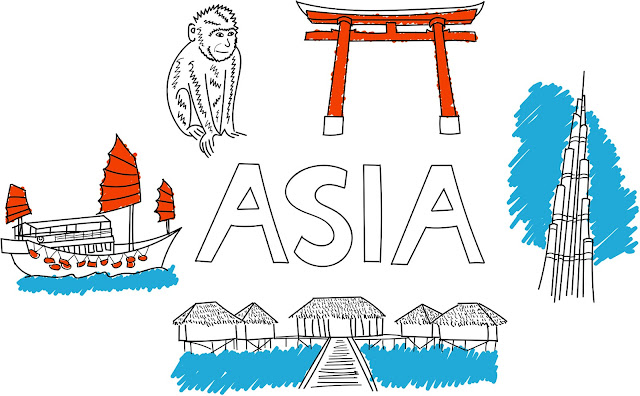 asia illustration with Kyoto temple arch, monkey, Burj khalifa, dragon boat and Maldives huts