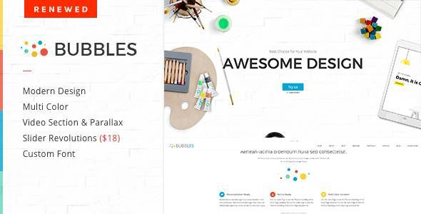 Bubbles Parallax One Page WordPress Theme - Creative Portfolio