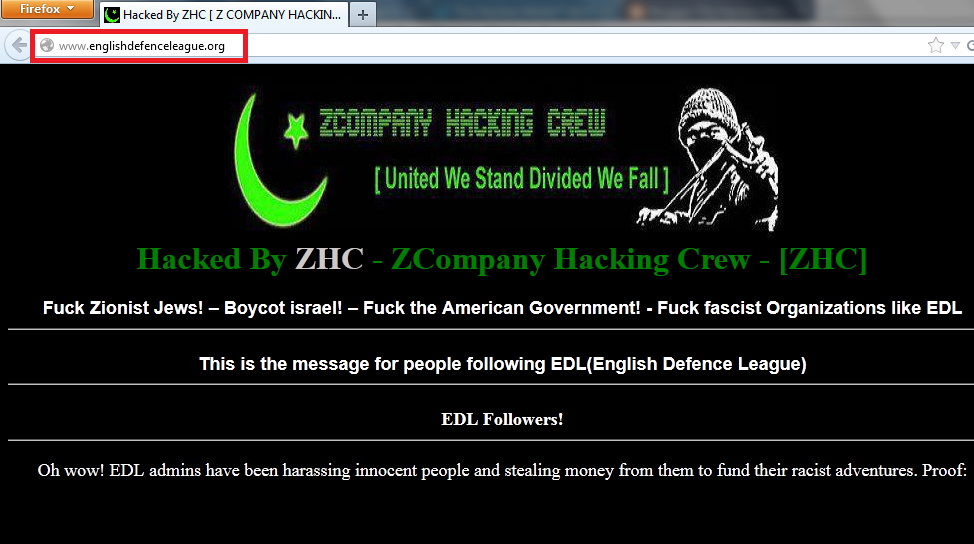 English Defence League Hacked & Defaced by ZCompany Hacking Crew