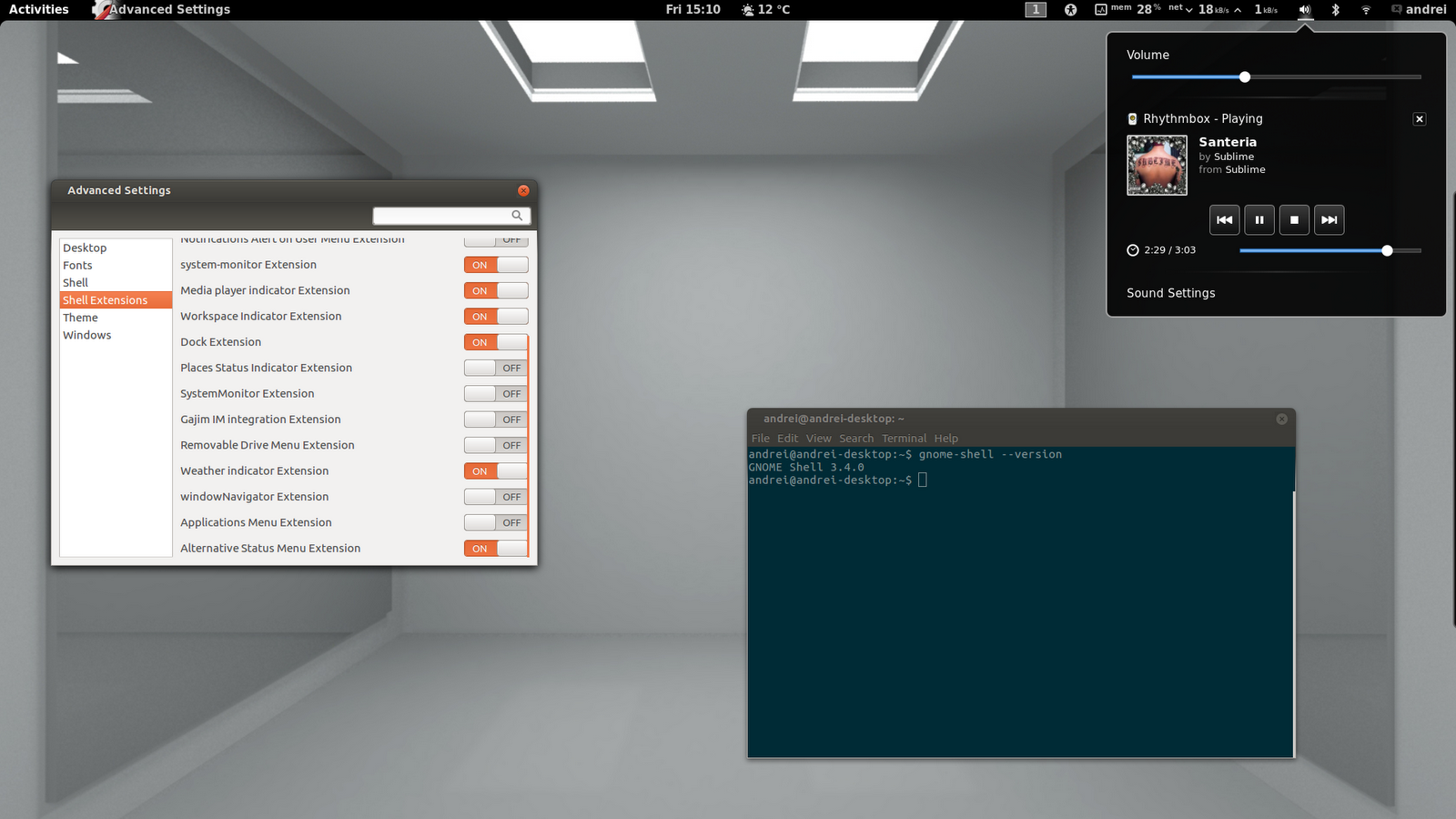 Official GNOME Shell Extensions, Weather, System Monitor