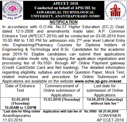 APECET Notification 2018 Online Application Examination Fee Payment