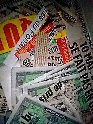 Collages Textuels à base de titres de journaux tout format, tout support par AZa fax AZa alias AGNESetlesNUAGES