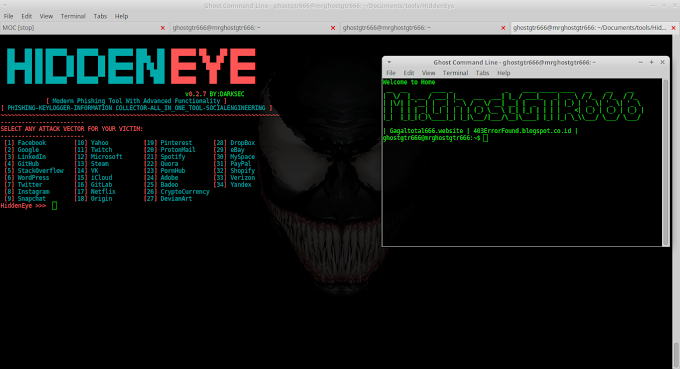 HiddenEye Modern Phishing Tool With Advanced Functionality on BackBox 5.3 GNU/Linux
