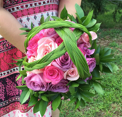 Bohemian Wedding Bouquet with Roses and Steel Grass by Stein Your Florist Co.