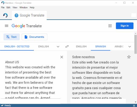 Rambox-software google translate untuk pc