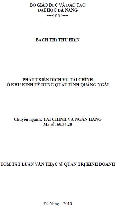 Phát triển dịch vụ tài chính ở khu kinh tế Dung Quất tỉnh Quảng Ngãi