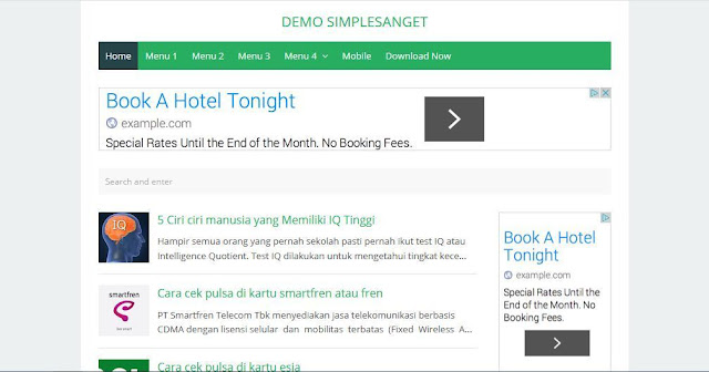 Simple Sanget - Template Blog Simple Sederhana Gratis
